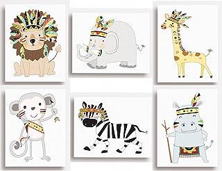 Juego de 6 impresiones tribales con diseños de animales de la jungla para colgar en la pared de la habitación de los niños (149 x ...