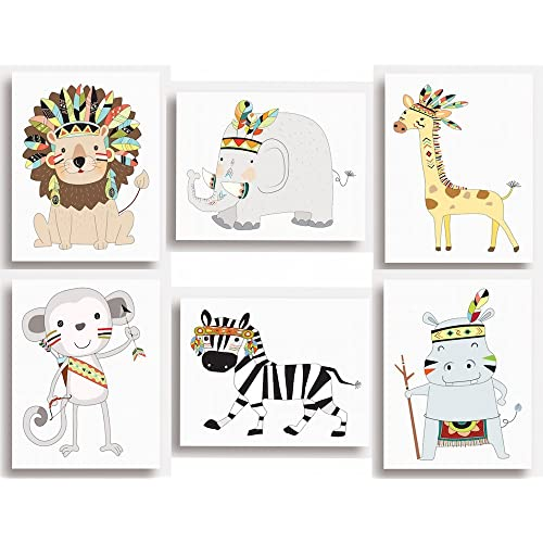 """Lot de 6impressions-Animaux de la jungle, safari pour décoration murale de chambre d'enfant (14,9cmx20,3cm environ), 203 x 254mm (8""""x10"""")"""