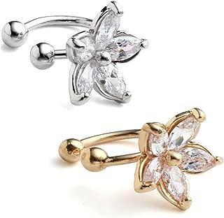 JOVIVI 2pc CZ Crystal U-shaped Flower Horseshoe Bar Clip On Ear Stud Cuff Earrings Cartilage Gift