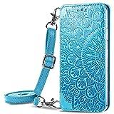 Pheant Compatible con Xiaomi Redmi Note 10 4G Funda con Tapa - Bolso de Hombro Teléfono Móvil para Mujer Carcasa Magnético con Suporte,Tarjetero y Correa - Funda Libro con Diseño de Flores - Azul