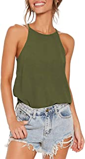 Tainehs Womens Casual Basic Tank Tops High Neck Sleeveless Halter Strappy Tee Shirts Cami Tank Tops Beach Blouses