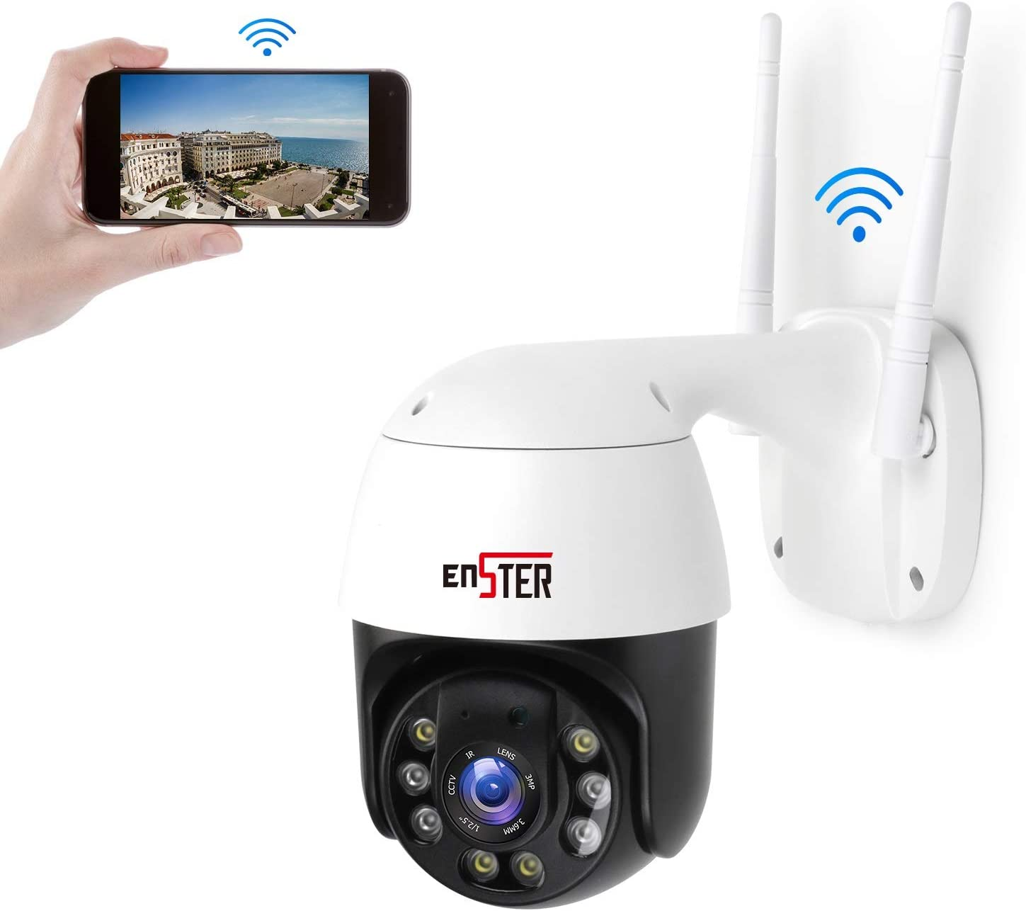 ENSTER Metal PTZ WiFi Security Online limited product Camera New sales Tilt Outdoor Pan 1080P 4X