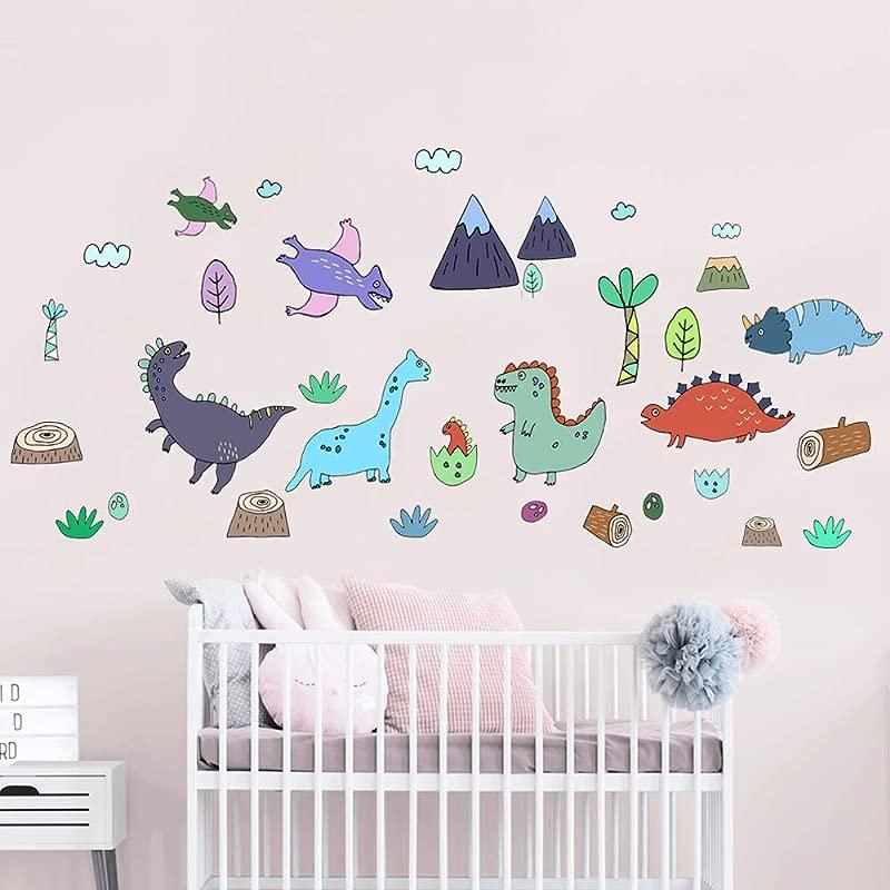 Funny Cute Colorful Dinosaur Dino Peel And Stick Wall Decals For Kids Boys Girls Baby Nursery Bedroom Bathroom Playroom Decor