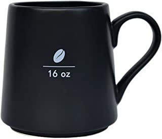Mecraft -16 OZ Ceramic coffee Mug with coffee bean pattern,Frosted black layer with white coffee bean pattern
