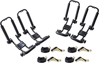 AA Products 2 Pair Double Folding J-Bar Rack for Kayak Carrier Canoe Boat Paddle Board Surfboard Roof Top Mount on Car SUV Truck Crossbar with Ratchet Lashing Straps