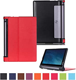 Kepuch Custer Funda para Lenovo Yoga Tab 3 10.1 X50L X50F,Slim Smart Cover Fundas Carcasa Case Protectora de PU-Cuero para Lenovo Yoga Tab 3 10.1 X50L X50F - Rojo