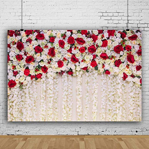 AOFOTO 10x7ft Girl Newborn Baby Photography Backdrops Red White Roses Flowers Wall Wedding Shower Photo Background Cloth Kids Adults Bride Portrait Photo Shoot Props Anniversary Decor Vinyl Wallpaper
