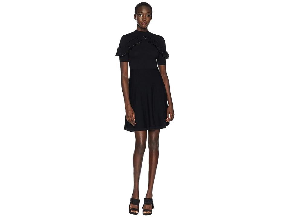 Kate Spade New York So Foxy Ruffle Studded Sweater Dress (Black) Women