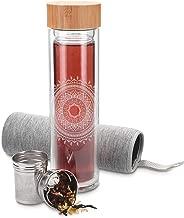 Navaris Teeflasche aus Glas mit Sieb - 500ml Tee Flasche Teekanne to go - Trinkflasche Indische Sonne - doppelwandig aus Borosilikatglas mit Hülle in Grau