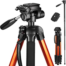 Victiv 72-inch Tall Tripod for Camera, Durable Aluminum Stand Lightweight Monopod for YouTube Videos, Live Webcasts with 2 Quick Release Plates 9.2 lbs Load for Travel and Work - Orange