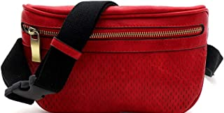 Perforated Lightweight Medium Fashion Vegan Leather Fanny Pack Sling Waist Bag