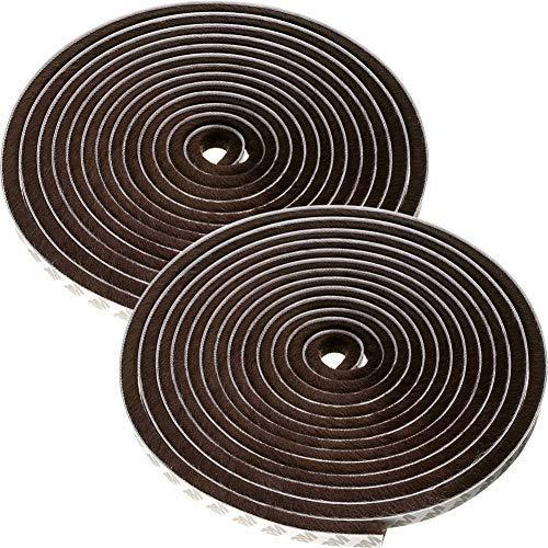 2Pcs Guarnizione a Spazzola, Striscia Autoadesiva Spazzola Antivento e Antipolvere per Finestra Scorrevole Porta Armadio Seal Dust Proof (2 * 6M)