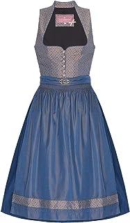 Lieblingsgwand Midi Dirndl 70er Taupe blau Gemustert blau Nadine 006894, Blumenmuster, eleganter Schalkragen und Herzausschnitt, mit silberner Brosche, Knöpfe in Altsilber
