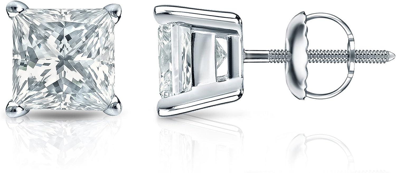 1 4 Carat Princess Cut Diamond Stud Earrings Cheap sale 14k Yel or in White cheap