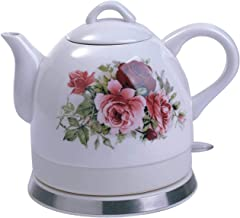 Keramische theeketel, snoerloze elektrische waterkoker Country Rose Design Classic Vintage Tea Po
