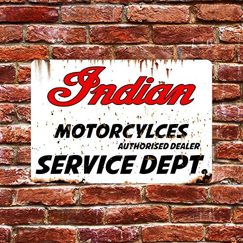 Indian Motorcycles Service Tin Sign 8'x12' Collectible Plaque Metal Sign Wall Decor Poster for Garage Shed Bar Pub Club