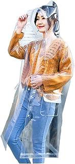 Freesmily Transparent Raincoat for Women Fashion Rain Poncho with Hood Drawstring