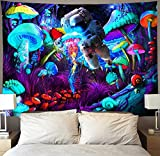 Trippy Blacklight Mushroom Tapestry Wall Hanging Psychedelic Galaxy Space Astronaut Tapestries Black Light Hippie Art Blue Neon Jellyfish Poster Starry Night Aesthetic Decor 40'x60' for Bedroom Dorm