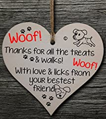 Handmade Wooden Hanging Heart Plaque Gift for Dad this Fathers Day Dog Novelty Fun Keepsake #1