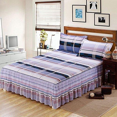 Colcha MXJ61 Rayas celosía patrón de sábanas de algodón Sola Pieza de Estilo Pastoral Falda Cama (Tamaño : 120 * 200cm)