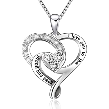 BLOVIN 925 Sterling Silver Engraved Love Heart Pendant Necklace Jewelry for Women Mom Girlfriend Wife Sister