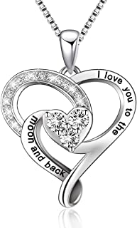 925 Sterling Silver Engraved Love Heart Pendant Necklace Jewelry Gifts for Women Mom Girlfriend Wife