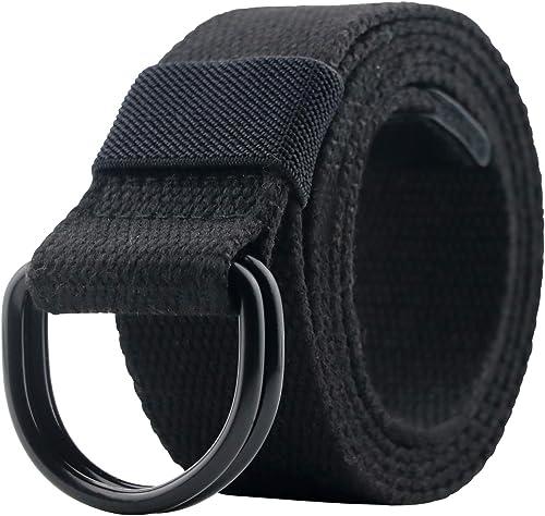 Maikun Canvas Belt Men with Black Double D-ring Buckle Web Military Tactical Belt for Mens