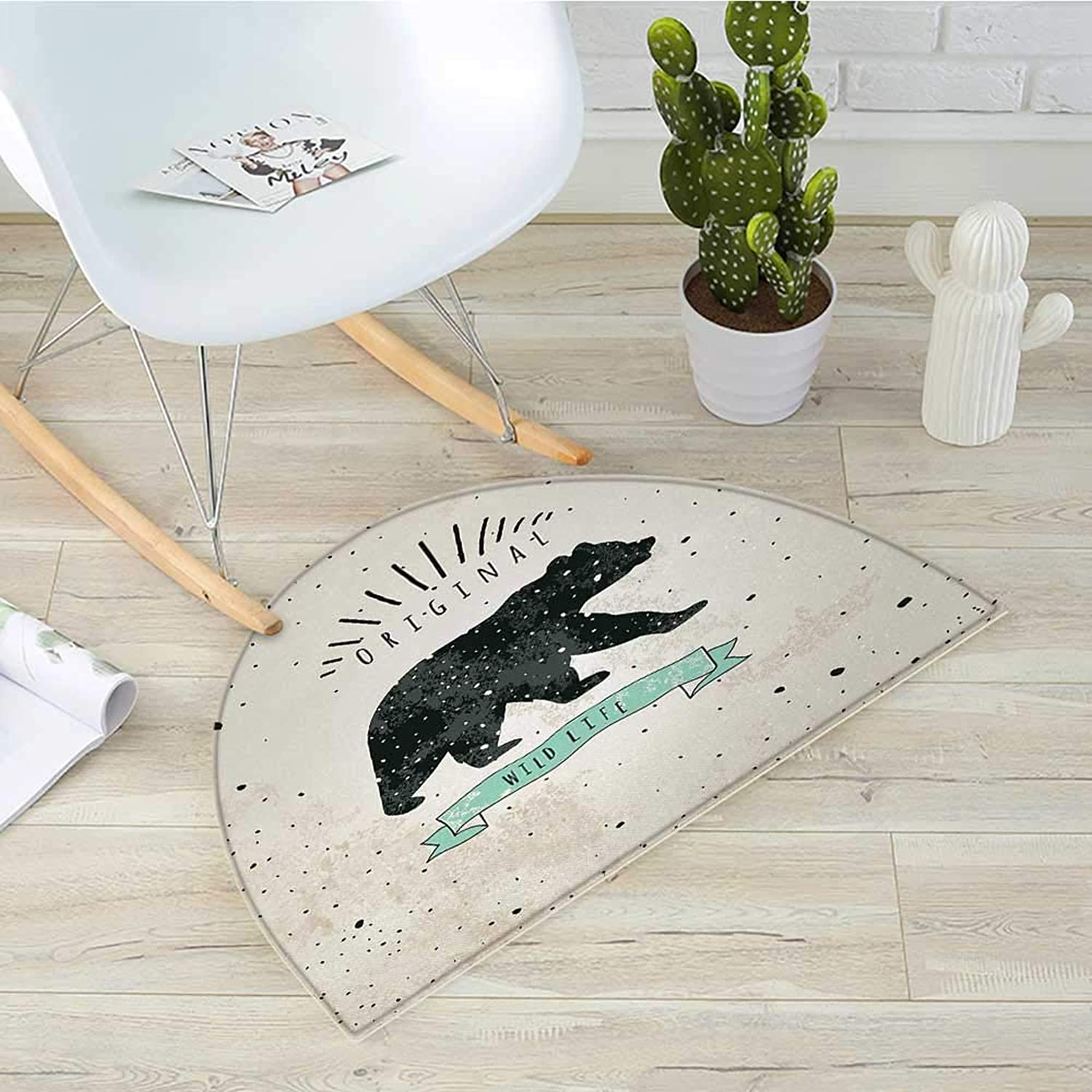 Bear Semicircle Doormat Vintage Wildlife Label Hunting Theme Icon with Random Dots Predator Paws Halfmoon doormats H 35.4  xD 53.1  Tan Black Mint Green