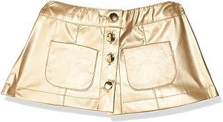 Giggles Metallic Buttoned Elastic-Waist Side-Pocket Skirt for Girls