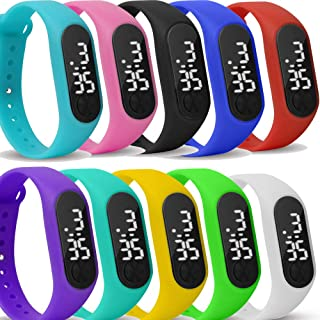 10 Pack Upgraded White LED Touch Screen Jelly Gel Silicon Bracelet Wrist Watches Band Sports Set