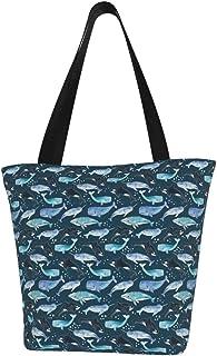 Einkaufstaschen, Wale Orcas Narwals auf marineblauem Segeltuch, Schultertasche, wiederverwendbare faltbare Reisetasche, groß und langlebig, robuste Einkaufstaschen