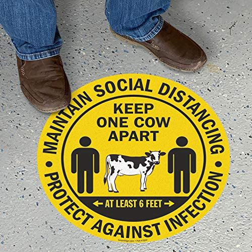 SmartSign Maintain Social Distancing Floor Decal, Keep At Least 6 Feet Distance Floor Stickers | 17x17 Inches, Anti-Skid Vinyl Distance Marker, Yellow Anti Slip Adhesive Floor Sign