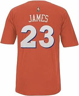 adidas Lebron James Cleveland Cavaliers NBA Men Orange Player Name & Number Pigment Dye Jersey T-Shirt