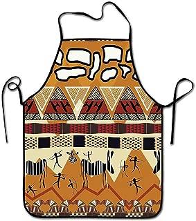 Winnee Primitive Apron Pattern Tribal Ethnic African Hunting Zebra Spear Arrow Prehistoric Tribe Life Theme Apron Dress for Women Ruby Mustard