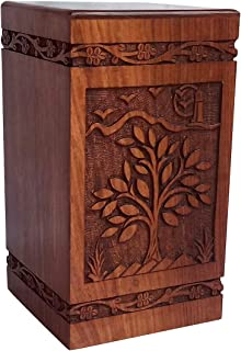 "Handicrafts House Beautifully Handmade & Handcrafted Rosewood Scenery Engraving Wooden Cremation Box/Urns for Human Ashes Adult, Funeral Urn Box (Large : 11.25"" x 6.25"" x 6.25"" - 250lbs or 113kg)"