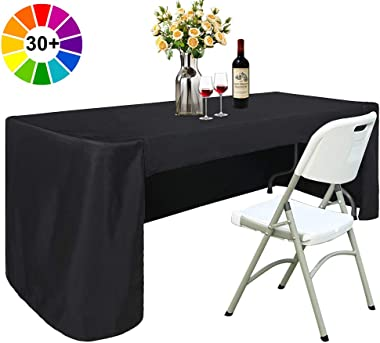 ABCCANOPY 6 FT Rectangle Dinner Tablecloth Table Cover for Rectangular Table in Washable Polyester Great for Buffet Table, Parties, Birthday, Wedding Housewares (Black)
