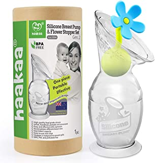 Haakaa Manual Breast Pump Breastfeeding Pump Silicone Pump Milk Saver with Suction Base and Flower Stopper 100% Food Grade...
