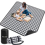 Remunkia Picnic Blanket Outdoor Blankets 79'x 79' Extra Large 3 Layers Waterproof Picnic Mat Oversized & Portable for Beach, Park, Camping, Travel, Hiking - Black & White