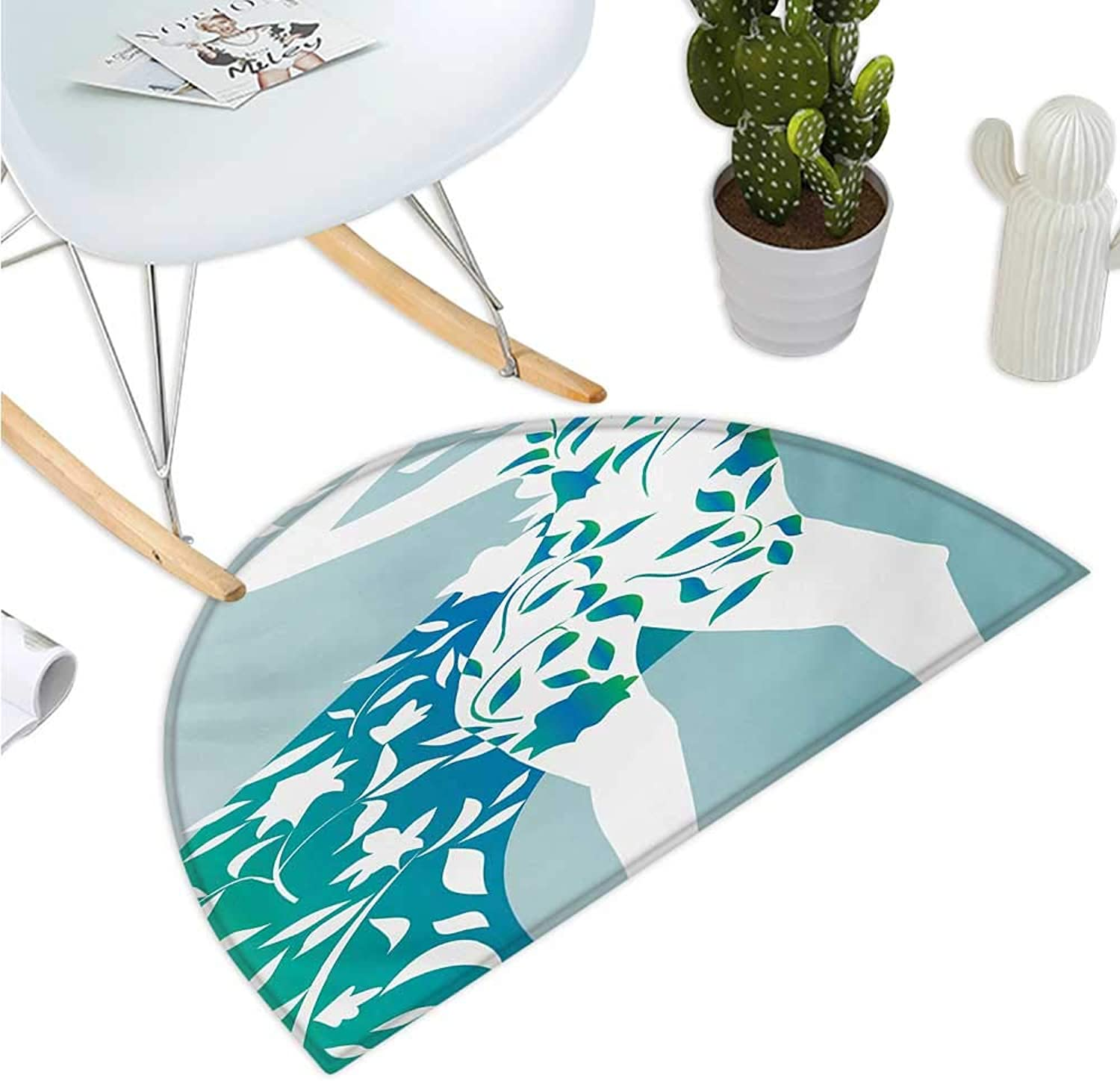 Floral Semicircular Cushion Fashion Woman Girl Body with Flower Petal Leaves Modern Design Model Image Halfmoon doormats H 35.4  xD 53.1  Turquoise Teal White