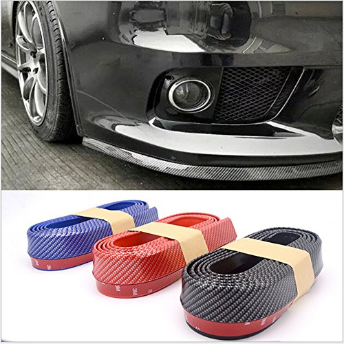 Price comparison product image Nicebee 2.5m Red Carbon Fiber Look Front Bumper Car Bumper Lip Chin Skirt Spoiler Body Kit Trim