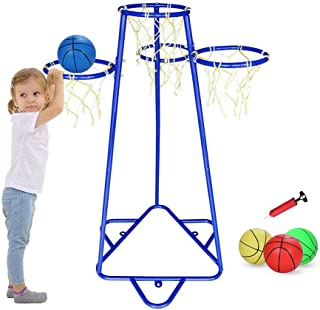 Pantrasamia Kids Basketball Hoop Portable Basketball Stand with 4 Hoops at Varying Heights and 3 Balls Toy Set for Age 2 Y...