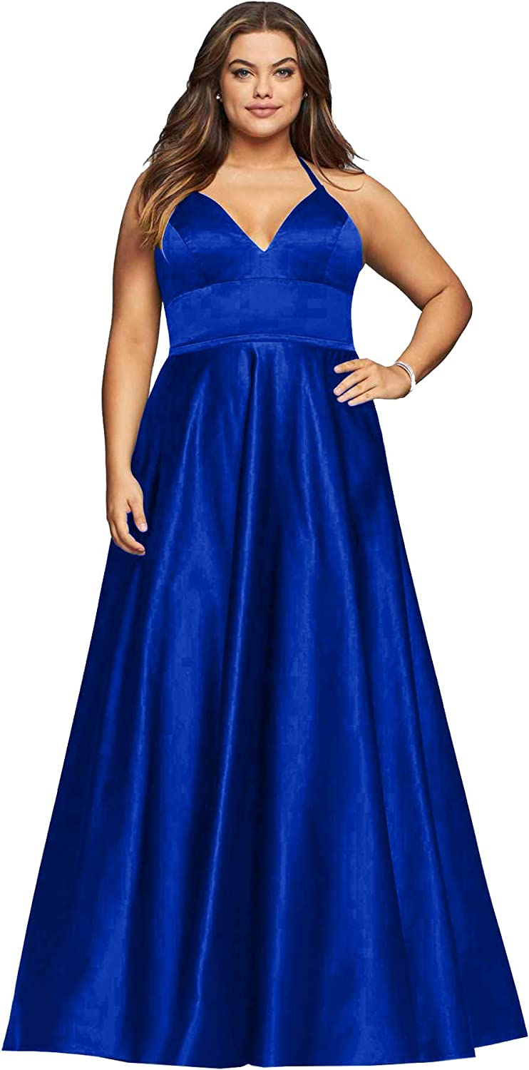 Beauty Bridal V Neck Satin Prom Dresses for Women Formal Long Evening Party Gowns with Pockets Z31