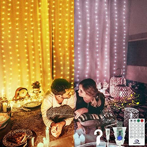Luces de cortina, 3M*3M 300LED Luces de cadena de hadas con control remoto, Impermeables Luces de alambre de cobre USB con activación por voz, para El Jardín Navidad,blanco cálido y blanco