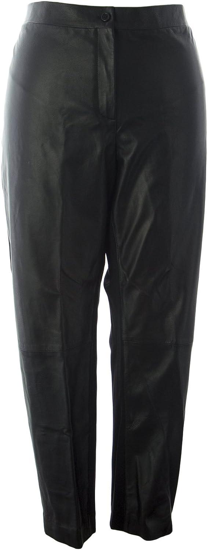 Marina Rinaldi Women's Elena Leather Pants Black