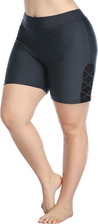 ATTRACO Swim Shorts for Women Plus Size Swimsuit Shorts Swimwear Bottoms Lined