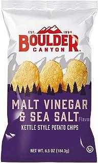 Boulder Canyon Kettle Cooked Potato Chips, Malt Vinegar & Sea Salt, 6.5 oz. Bag, 12 Count - Gluten Free, Tangy, Salty, Cru...