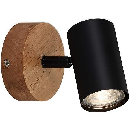 Briloner Leuchten - Luminaire à spots, spot mural, applique murale rétro, vintage, spot pivotant et orientable, 1x GU10, métal et bois, noir, 90x120mm (DxH)