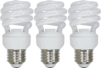 Set of 3 GE Lighting 72471 Energy Smart Spiral CFL 10-Watt (40-watt Replacement) 550-Lumen T2 Spiral Light Bulb with Mediu...