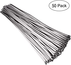 50 piezas 4.6 mm x 200 mm Bridas para Cables de Acero Inoxidable, Metal Cable Ties, Lazos de cremallera de acero inoxidable (Plata)
