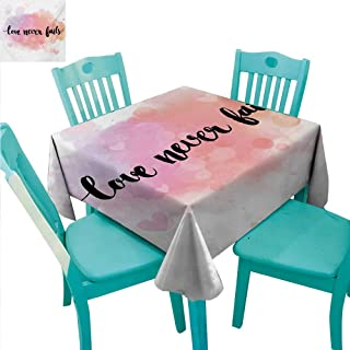 WilliamsDecor Quote Fabric Dust-Proof Table Cover Romantic Phrase About Love and Friendship Love Never Fails Bokeh Effect Background Indoor Outdoor Camping Picnic 54